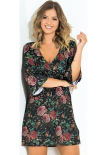 Vestido Quintess Curto Floral Com Gota E Botão