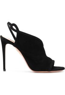 Aquazzura Sandália Very Serpentine Assimétrica - Preto