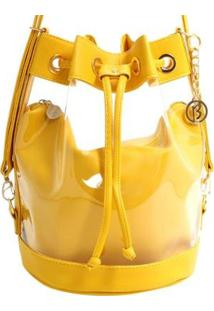 Bolsa Birô Saco Cristal Feminina - Feminino-Amarelo