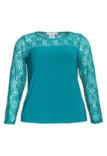 Blusa Recorte Renda Almaria Plus Size Caroll Collection Gola Redonda Verde