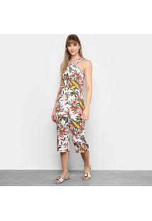 Macacão Lily Fashion Frente Única Tropical Feminino - Feminino-Branco