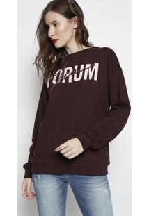 """Blusã£O Em Moletom """"Forum Jeans""""- Marrom Escuro & Rosa Clforum"""