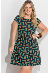 Vestido Evasê Estampa Abacaxi Com Manguinhas