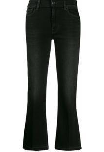 7 For All Mankind Calça Jeans Flare Cropped - Preto