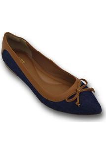 Sapatilha Confort Bico Fino Jeans Com Detalhes Em Caramelo E Laã§O (6009) - Azul - Feminino - Dafiti