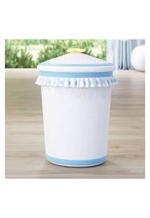 Lixeira Bebe Branco/Azul Poá E Estrelinha Grão De Gente Azul