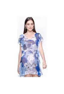Blusa 101 Resort Wear Tunica Decote V Crepe Estampado Flores Azuis