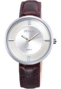 Relógio Skone Analógico 9100 Marrom
