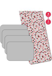 Jogo Americano Love Decor Com Caminho De Mesa Wevans Mult Triangulos Kit Com 4 Pçs + 1 Trilho
