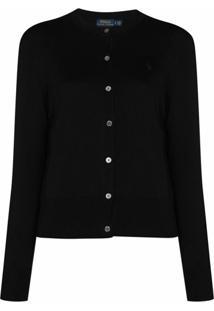 Polo Ralph Lauren Cardigan Decote Careca Com Abotoamento - Preto