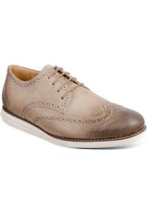 Sapato Casual Oxford Couro Sandro & Co. Olin Masculino - Masculino-Bege