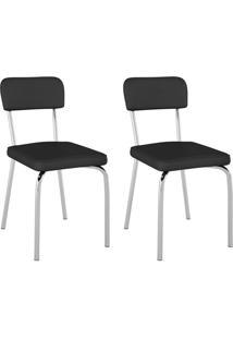 Conjunto Com 2 Cadeiras Vinil Supreme Preto E Cromado