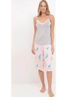 Pijama Alcinha Com Calça Estampa Folhagem