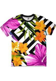 Camiseta Bsc Floral Quadriculado Full Print Roxo - Masculino