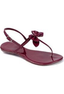 Rasteira Mercedita Shoes Verniz Laço Feminina - Feminino-Bordô