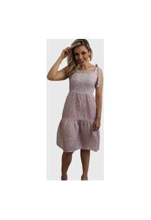 Vestido Curto Laço Alça Estampa Liberty Rosa.
