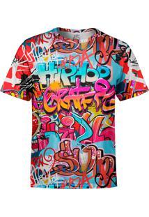 Camiseta Estampada Over Fame Grafiti Hip Hop Multicolorida