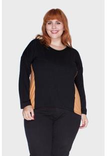 Blusa Recortes Bold Laterais Plus Size Feminina - Feminino-Laranja