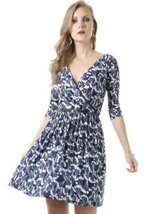 Vestido Floral Com Cinto Azul Marinho