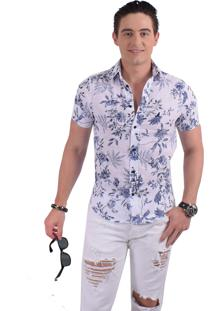 Camisa Horus Social Manga Curta Slim Floral Azul 500208