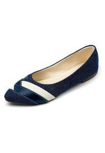 Sapatilha Jeans Com Azul Megachic