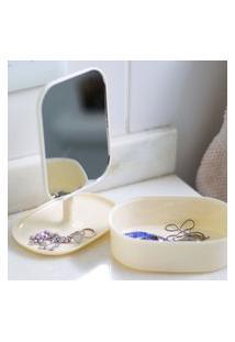 Espelho De Maquiagem Com Porta Joias Pocket
