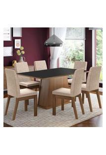 Conjunto Sala De Jantar Madesa Rebeca Mesa Tampo De Madeira Com 6 Cadeiras Marrom