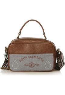 Bolsa Blue Bags Crossbody Bordado Terra Feminina - Feminino-Marrom+Cinza