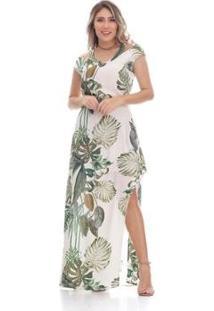 19246edf0 Vestido Clara Arruda Longo Ombro Decote - Feminino-Bege+Verde