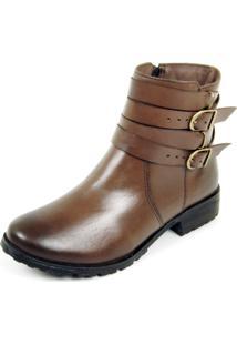 Bota Dhatz Ankle Boot Com Duas Fivela Não Possui Cadarço Café