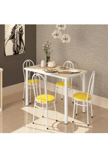 Conjunto De Mesa Retangular Bona Vita Roma 4 Cadeiras Branca/Amarela