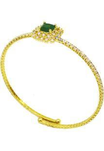 Bracelete Dourado Pure Cristais Imagine Esmeralda Regulável La Madame Co