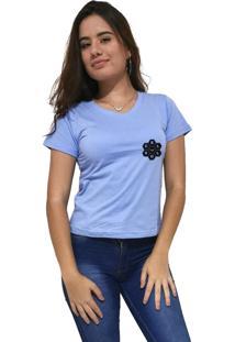 Camiseta Feminina Gola V Cellos Vertical Signature Premium Azul Claro - Kanui