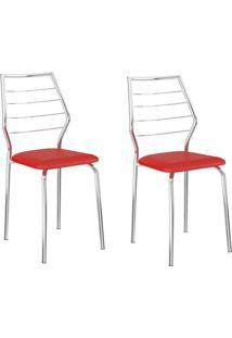 Kit 2 Cadeiras 1716 Vermelho Real/Cromado - Carraro Móveis
