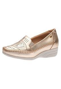 Sapato Anabela Doctor Shoes 3136 Dourado
