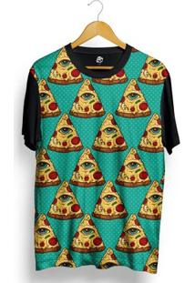 Camiseta Bsc Pizza Poa Full Print - Masculino-Preto
