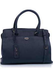 Bolsa Grande Em Couro Azul