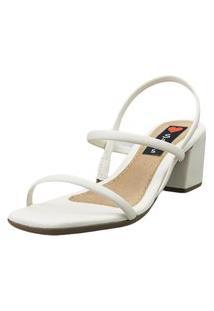 Sandália Salto Bloco Love Shoes Baixo Tiras Básicas Delicadas Off White