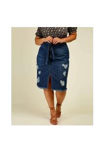 Saia Jeans Plus Size Feminina Midi Fenda