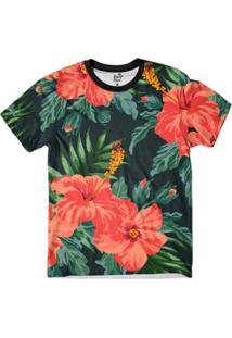 Camiseta Bsc Floral Flor Laranja Full Print Masculina - Masculino