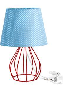 Abajur Cebola Dome Azul/Bolinha Com Aramado Vermelho