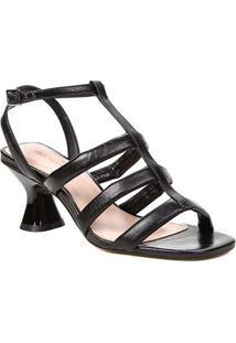 Sandália Couro Shoestock Salto Médio Tiras Feminina - Feminino-Preto