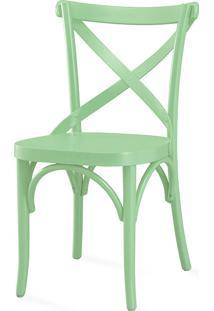Cadeira X De Madeira Torneada Com Encosto Anatômico Madeleine Laca Verde Sálvia - 50X54,5X86 Cm