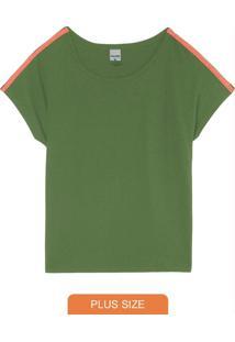 Blusa Verde Ampla Em Moletinho Plus