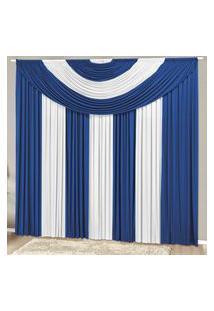 Cortina Com Bandô Suprema Em Malha Gel 3,00M X 2,80M Para Varáo Simples - Azul Royal Com Branco