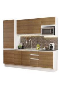 Cozinha Completa 100% Mdf Madesa Acordes 240001 Com Armário E Balcão (Sem Tampo E Pia) Branco/Rustic Cor:Branco/Rustic