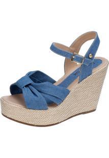 Sandália Anabela Lu Fashion De Laço Com Sola De Juta Jeans Azul
