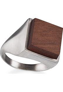 Anel Wooden Design Sinete Em Prata 925 - Madeira E Prata