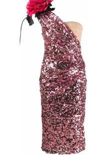 Dolce & Gabbana Vestido Com Um Ombro Só Com Paetês - Rosa