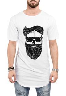 Camiseta Criativa Urbana Long Line Oversized Estilo Barbearia Homem Barba Óculos Caveira - Masculino-Branco